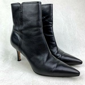 Ann Taylor black leather ankle boots